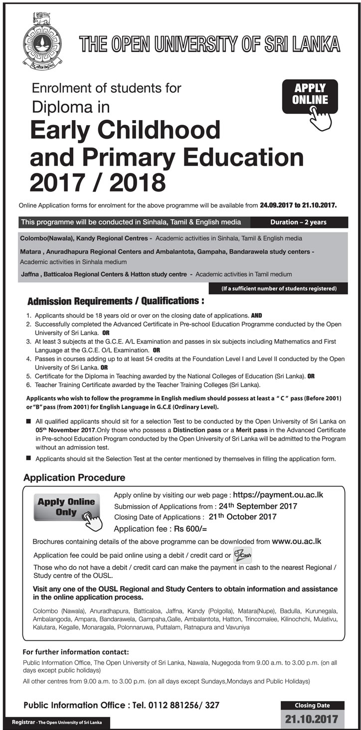 In early childhood and primary education 20172018 open diploma in early childhood and primary education 20172018 open university of sri lanka 1betcityfo Image collections